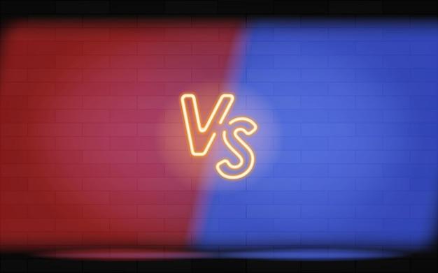 대 전투, 스포츠 및 전투 경쟁을 위한 네온 프레임. 두 전투기에 대한 네온 스타일의 개념입니다. 벡터 일러스트 레이 션