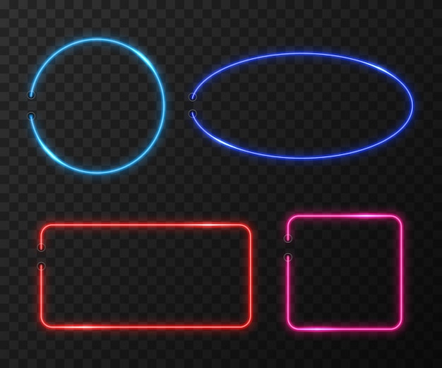 Neon frames  set on black transparent background