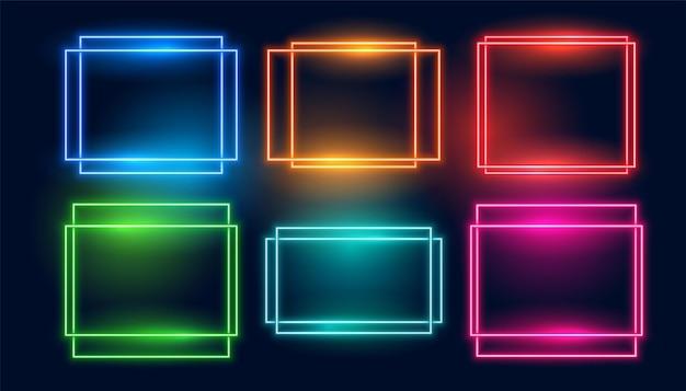 Набор из шести неоновых рамок в квадратном и прямоугольном стиле