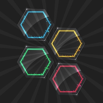 투명 배경에 다른 색상 조명 효과와 네온 프레임