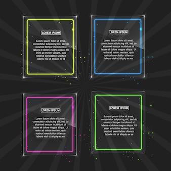 透明な背景に異なる色の光の効果を持つネオンフレーム Premiumベクター