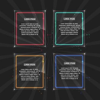 透明な背景に異なる色の光の効果を持つネオンフレーム