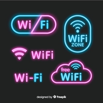 Neon free wifi sign collection