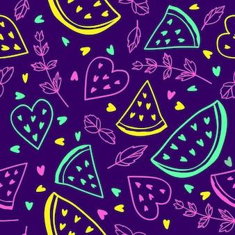 スイカとミントの葉とネオンフルーツのシームレスなパターン
