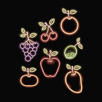 неоновые фрукты