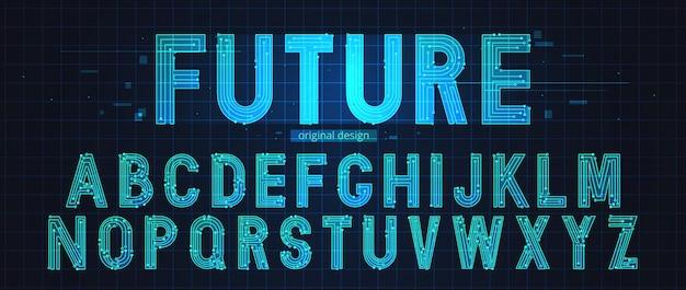 ネオンの未来的なアルファベットテンプレート