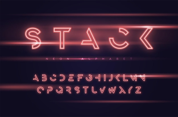 Neon futuristic display typeface, font, alphabet, typography global swatches
