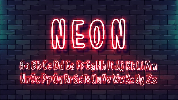 ネオンの未来的なハンドフォント。暗いレンガの壁の背景に明るいチューブアルファベット大文字小文字。