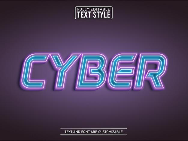 네온 Futurustic Cyberpunk 개요 빛나는 빛 텍스트 효과 프리미엄 벡터