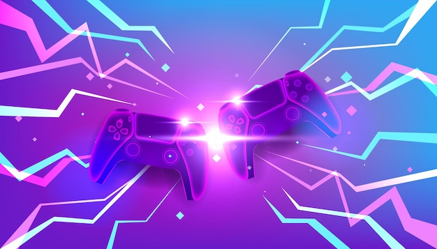 Neon game controllers or joysticks for game console.