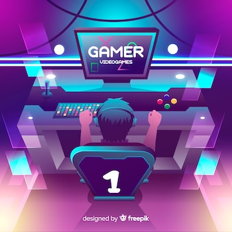 Neon gamer illustration flat design