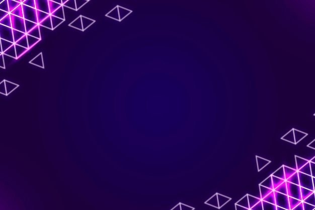 Neon geometric border on a dark purple background