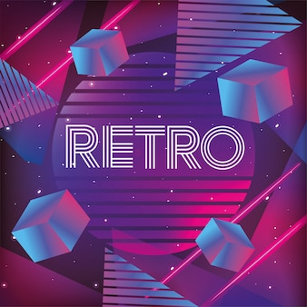 Neon geometric texture and retro style