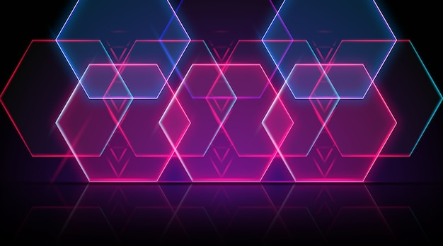 Neon geometrical shapes background