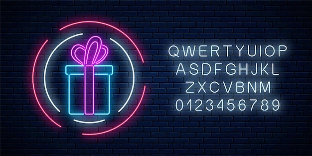 Neon gift with ribbon glowing sign in circle shapes with alphabet on a dark brick wall background