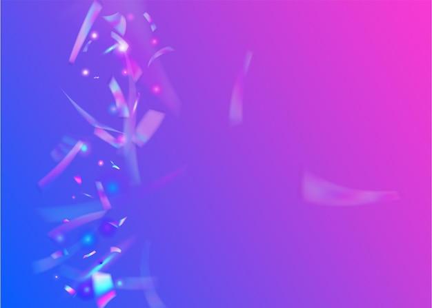 네온 글레어. 떨어지는 배경. 현대 미술. 라이트 틴셀. 디스코 카니발 그라디언트. 빛나는 배너. 바이올렛 금속 색종이 조각. 글래머 포일. 보라색 네온 섬광