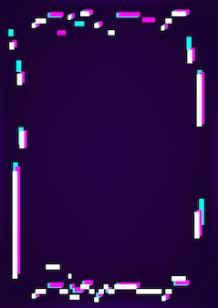 Cornice glitch al neon su sfondo scuro
