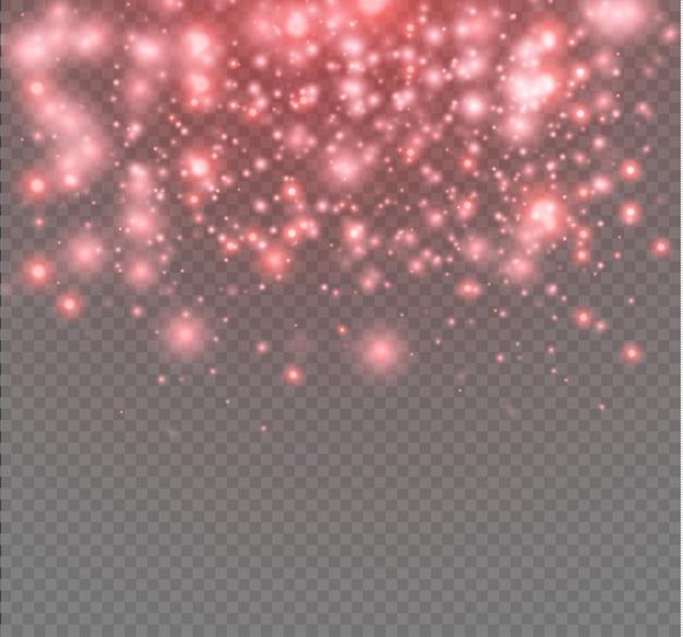 Neon glitter particles, star dust light effect
