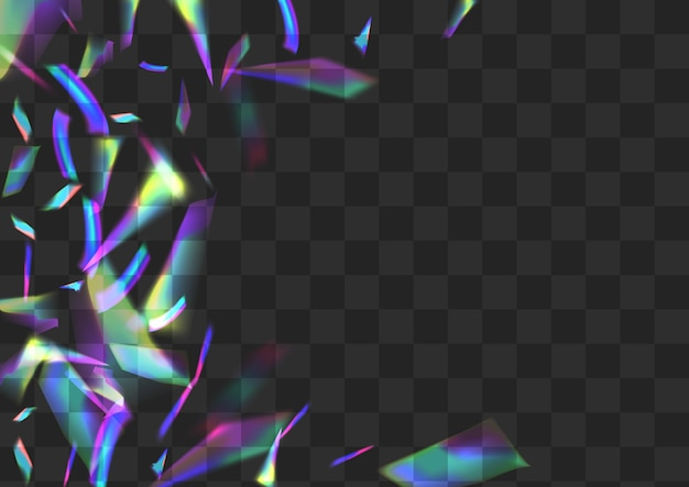 Neon glitter vector transparent background. holo prism abstract banner. shine bokeh isolated border. bright falling spectrum design.