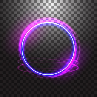 Neon gloving ring isolated on transparent background. blue round light effect.