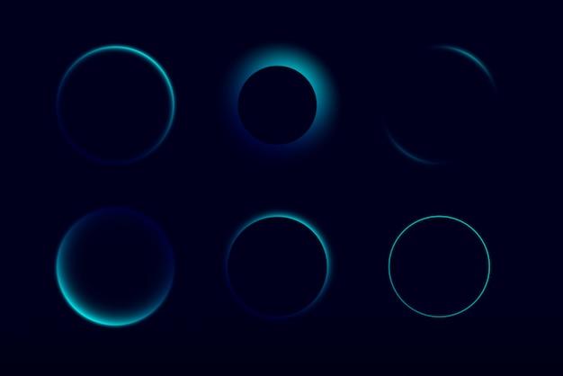 ネオングローサークルグラフィックアセットベクトルイラストセット