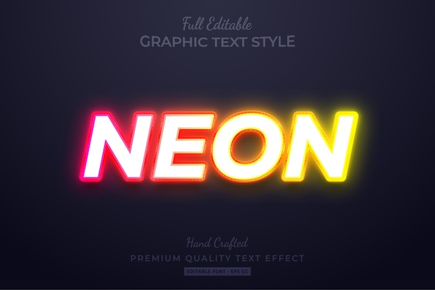 Редактируемый пользовательский текстовый стиль neon glow premium