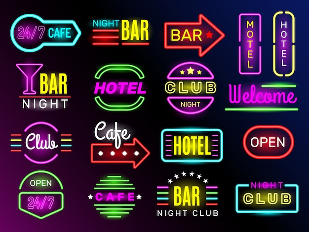 Neon glow hotel. night advertising retro signboards new york or vegas style vintage frames club banners. light night motel billboard, neon signboard hotel illustration