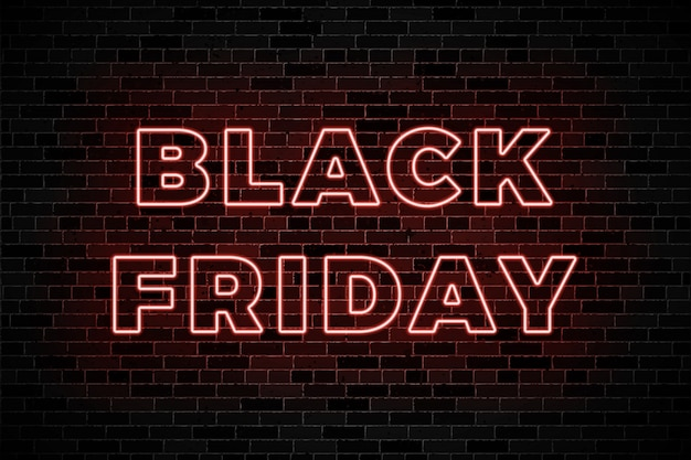 Neon glow signs for black friday sale on dark brick wall background
