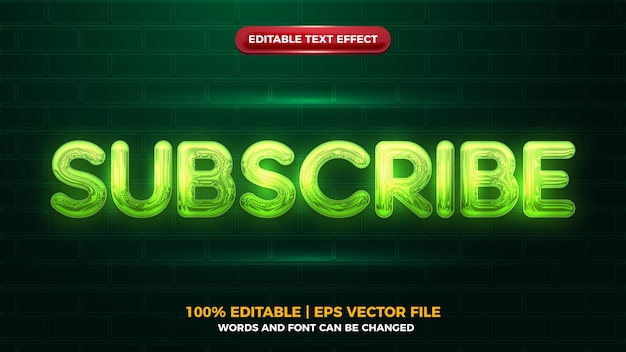 Неоновое свечение подписаться на текстовый эффект 3d editbale