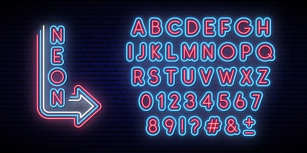 Neon glowing alphabet. bright typeface.