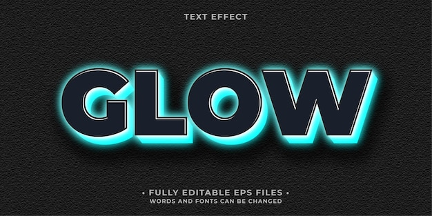Neon glowing blue and black text effect editable eps cc