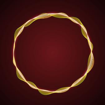 Neon glowing circular shape of waves
