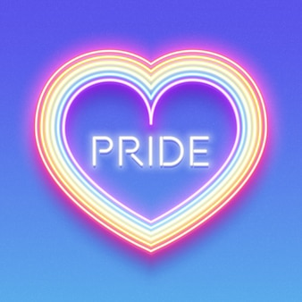 Neon glowing rainbow heart, lgbt pride, gay love.