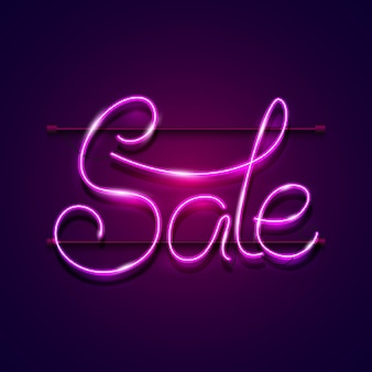 Neon glowing sale sign