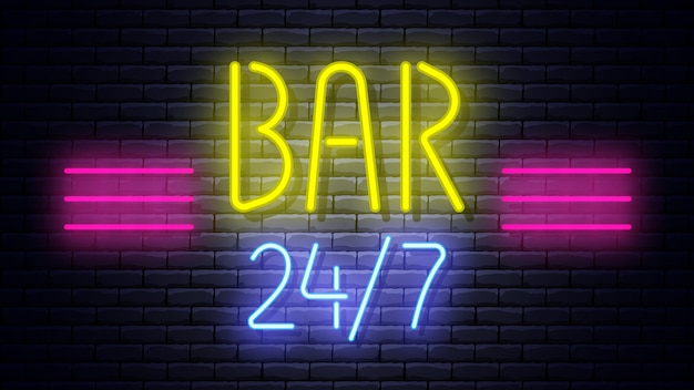 Neon glowing sign on brick wall.  illustration.