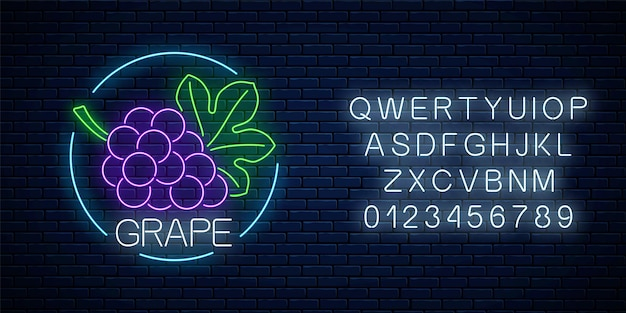Neon glowing sign of grape with bunch of grapes and leaf in circle frame with alphabet on dark brick wall background. bunch of grapes in round border. vector illustration.