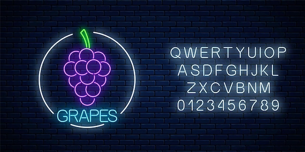 Neon glowing sign of grapes with bunch of grape in circle frame with alphabet on dark brick wall background. bunch of grapes in round border. vector illustration.