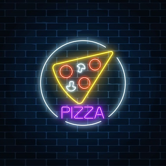 Neon glowing sign of pizza in circle frame on a dark brick wall