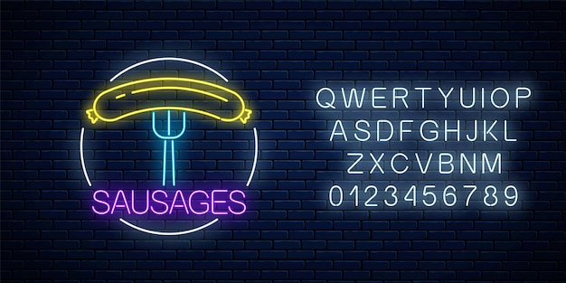 Neon glowing sign of sausages in circle frame with alphabet on a dark brick wall background. fastfood light billboard symbol. cafe menu item. vector illustration.