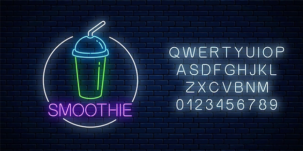 Neon glowing sign of smoothie in circle frame with alphabet on a dark brick wall background. fastfood light billboard symbol. cafe menu item. vector illustration.