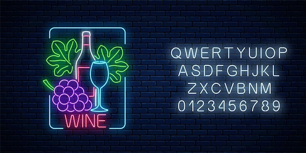 Neon glowing sign of wine in rectangle frame with alphabet on dark brick wall background. bunch and leaves of grapes with bottle and glass of wine. vector illustration.