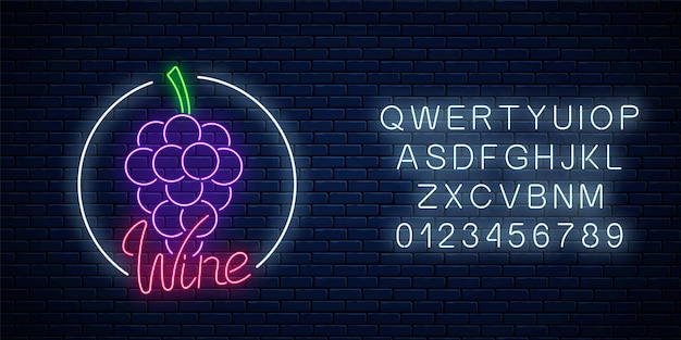 Neon glowing sign of wine store in circle frame with alphabet. bunch of grapes in round border.