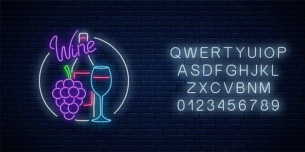 Neon glowing sign of wine store in circle frame with alphabet. bunch of grapes with bottle and glass of wine.