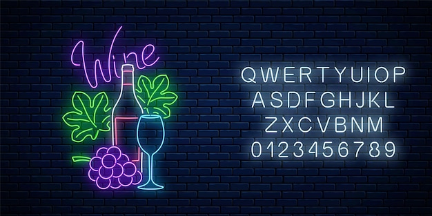 Neon glowing sign of wine store in circle frame with alphabet on dark brick wall background. bunch of grapes with bottle, glass of wine and leaves in round border. vector illustration.