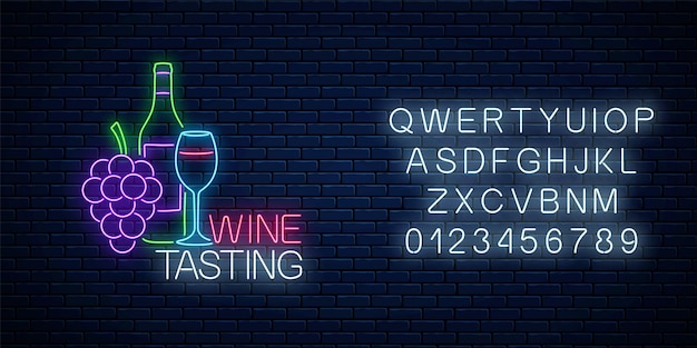 Neon glowing sign of wine tasting in circle frame with alphabet on dark brick wall background. bunch of grapes with bottle and glass of wine in round border. vector illustration.