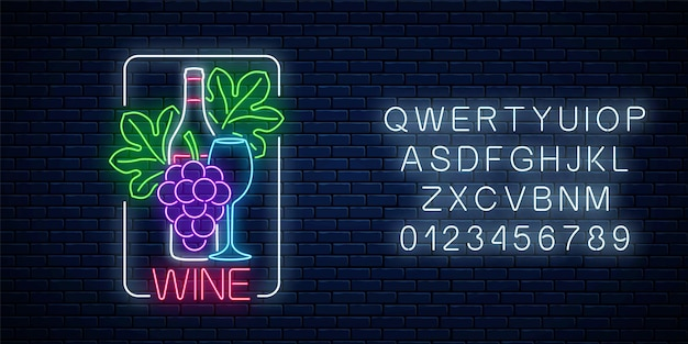 Neon glowing sign of wine with alphabet on dark brick wall background. bunch and leaves of grapes with bottle and glass of wine in rectangle frame. vector illustration.