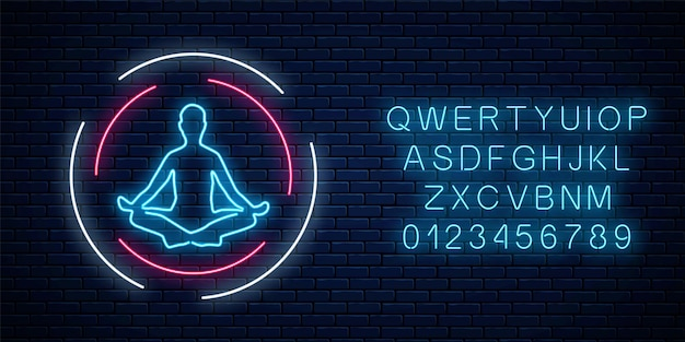 Neon glowing sign of yoga exercices club with lotus pose in circle frames with alphabet on dark brick wall background. street lights signboard of chinese gymnastics. vector illustration.