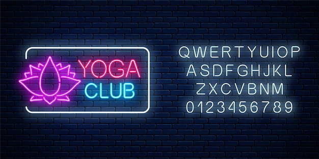 Neon glowing sign of yoga exercices club with lotus symbol in rectangle frame with alphabet