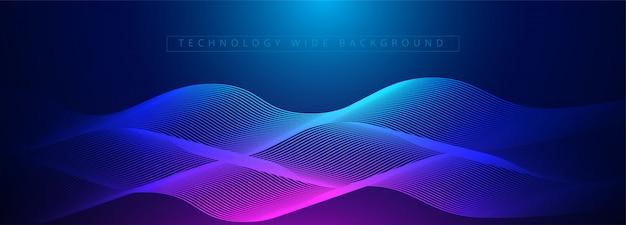 네온 빛나는 테크노 라인, 블루 하이테크 미래의 추상적 인 배경입니다. 프리미엄 벡터