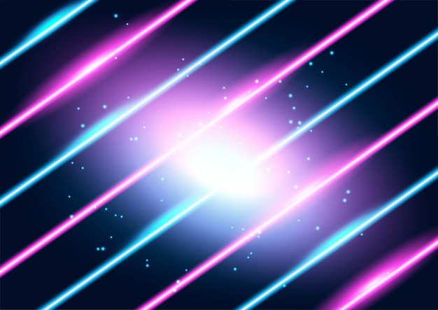 Neon glowing techno lines, hi-tech futuristic abstract background